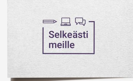 Selkeästi meille -logo käyntikortissa.